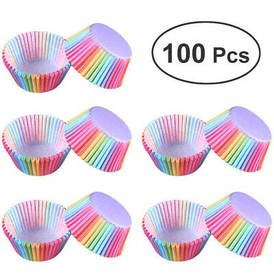 100Pcs Colorful Rainbow Paper Cake Cupcake Liners Baking Muffin Cup Case Party