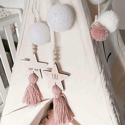 Nordic Star Tassel Wooden Beads Ornament Room Hanging Pendant Wall Decor LC