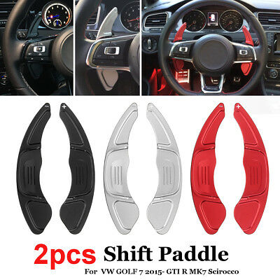 2x Steering Wheel Paddle Shifter Extension For VW GOLF 7 GTI R MK7 Scirocco Red