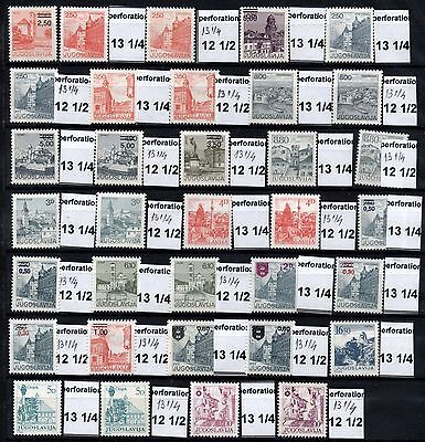 102 YUGOSLAVIA 1980-1988 Definitive Stamps, Different perf **MNH