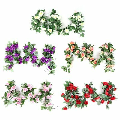 Artificial Rose Flower Vine Green Leaf Hanging Vine Garland for Wedding DS