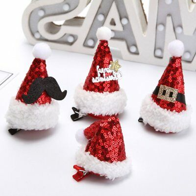 Christmas Santa Claus Caps Hats Hair Clips Children Baby Lovely Hair DS