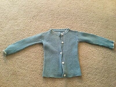 """Vintage Baby Sweater Solid Blue White Trim White Plastic Buttons 12"""" Long"""