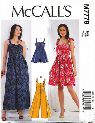 Mccall's Sewing Pattern 7778 Misses Sz 6-14 Easy Dress, Maxi, Jumpsuit & Romper