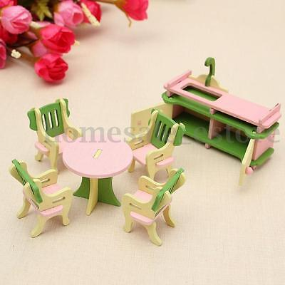 Retro Doll House Miniature Kitchen Wooden Furniture Set Kids Pretend Play Toy
