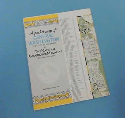 Pocket Map of WASHINGTON D.C. ~ September 1948 National Geographic map