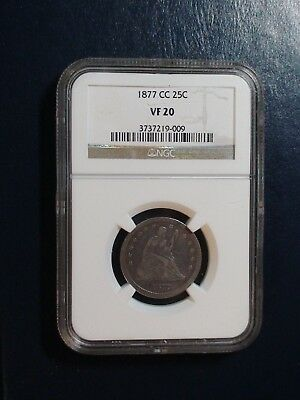 1877 CC Seated Quarter NGC VF20 SILVER CARSON CITY 25C Coin PRICED TO SELL!