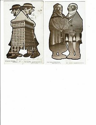 2 Card Lot, Comic Fantasy, Men With Buildings in Them, Cleveland & Washington!