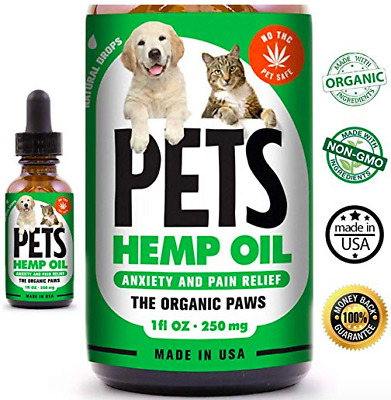 Hemp Oil for Dogs and Cats - Anxiety & Stress Relief - Support for Hip & Joints.