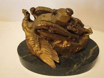 Antique Ww1 Bronze Metal Sculpture Statue Military Tank Crushing Bird F Masseau