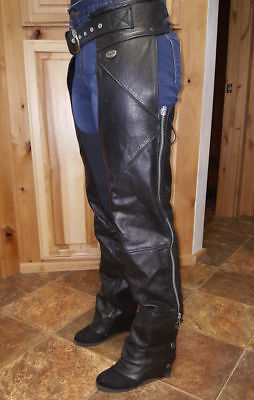 Harley Davidson Womens Motorcyle Riding Chaps WS Size Small Deluxe Black Leather