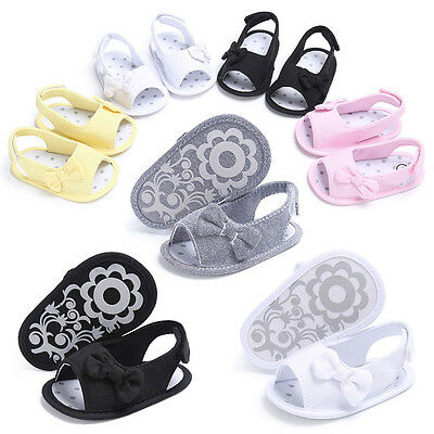 Newborn Baby Girl Toddler Bowknot Soft Crib Shoes Sandals Anti-slip Prewalker KW