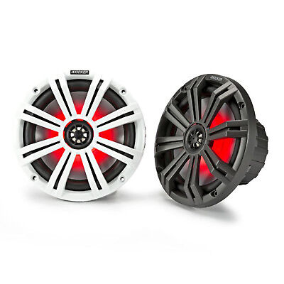 "Kicker KM8 8"" Marine Coaxial Speakers, LED Grille, Charcoal & White Grilles"
