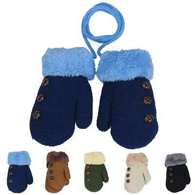 Winter Warm Newborn Baby Boy Girl Thick Fur Gloves Mittens with Neck String KW