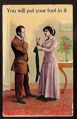 1911 AA  You Will Put Your Foot In It Comic greetings postcard