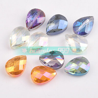 5pcs 18X13mm Teardrop Faceted Glass Crystal Loose Spacer Beads Jewelry DIY