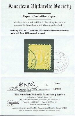 Genuine German States Hamburg Scott #21 Used Aps Cert With A Questionable Cancel