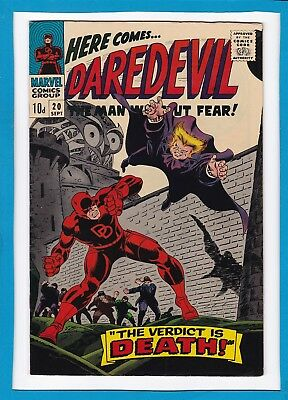 """Daredevil #20_September 1966_Vf_The Owl_""""the Verdict Is Death""""_Silver Age Uk!"""