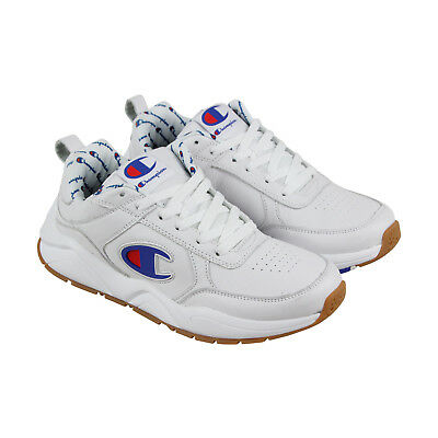 Champion 93 Eighteen Big Mens White Leather Lace Up Training Shoes