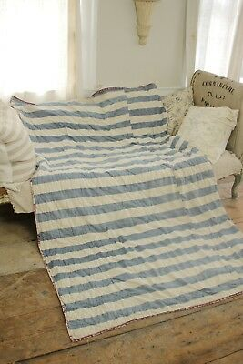 Quilt Antique blue stripes 1860 handmade textile French fabric quilted