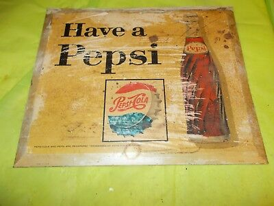 "Circa 1960-70's ""HAVE A PEPSI"" ORIGINAL COUNTER DISPLAY SIGN!!"