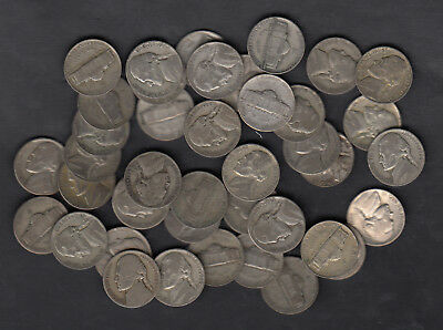 1942-45 Usa Wartime Silver Nickels Coin Lot Of 40