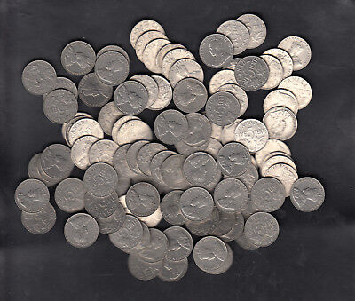1922-36 Canada Nickel 5 Cents Coin Lot Of 100