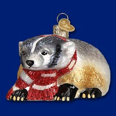 Old World Christmas Badger in Red Scarf Glass Tree Ornament FREE BOX 12442 New