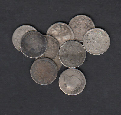1858-1901 Canada 5 Cents Silver Coin Lot Of 10