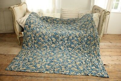 Boutis Antique French Pique piquee  Quilt floral stripe STUNNING 80X83