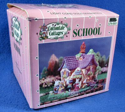 Cottontale Cottages Lighted Easter School w/ Light Cord 2002 JoAnn Original Box