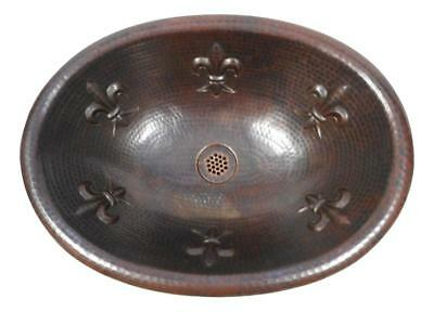 "Rustic Copper 19"" Oval Copper Bath Sink Fleur de Lis Design with 19-Hole Grid"