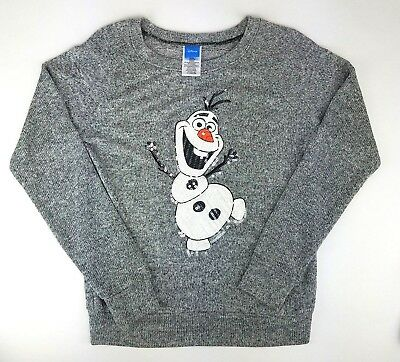 Disney Olaf Womens Junior Large Gray Ugly Christmas Sweater Holiday Frozen Top