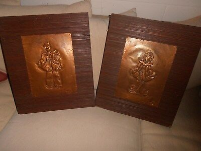 """Pair~Mid-Century Modern~Asian~Signed """"betty""""~Copper On Wood~No/res"""