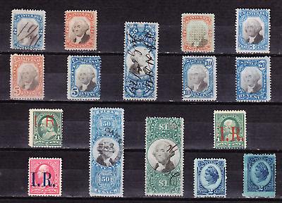US collection: 16 old 2nd/3rd issue revenue stamps M/U/F-VF