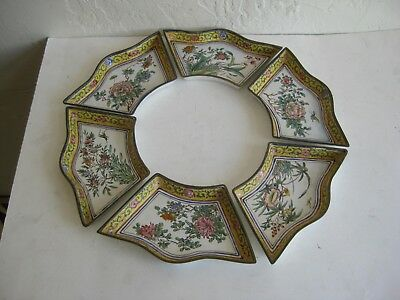 Fine Old Antique Chinese Canton Enamel on Brass Art Dish Tray Bowl Set of 6 RARE