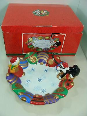 2000 Sylvester Tweety Christmas Candy Dish Looney Tunes Porcelain In Box