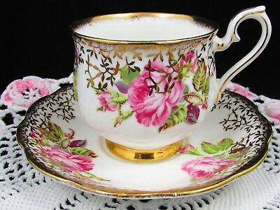 Royal Albert Pink Enamel Roses Gold Gilt Overlay Fluted Tea Cup And Saucer