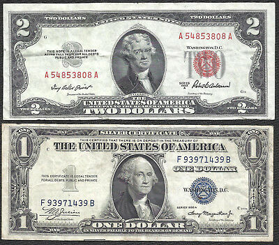 1953A $2 RED! 1935A $1 *SILVER* 2 Notes! CRISP VF! Old US Paper Money!