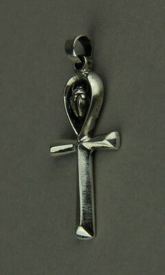 Sterling Silver Egyptian Ankh and Scarab Beetle Pendant Charm