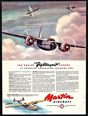 1941 WWII MARTIN B-26 The world's fightingest bomber War Plane Aircraft WW II AD