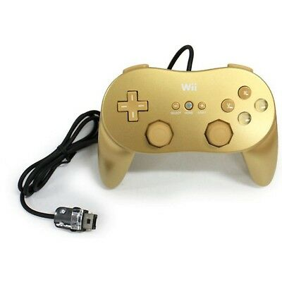 OFFICIAL Nintendo RVL-005(02) Wired Wii Classic Pro Controller GOLD gaming