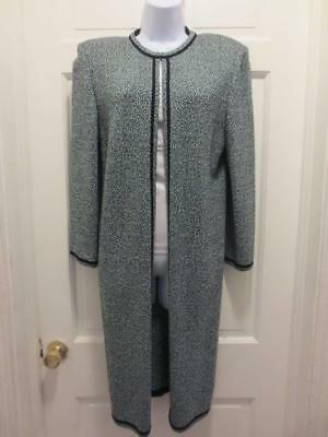 ST. JOHN Marie Gray Women Blue & BLACK TWEED Santana Knit BLAZER Jacket 6 Small
