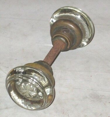 Antique Vintage Crystal Clear Glass Door Knob Handles one w/ center bar