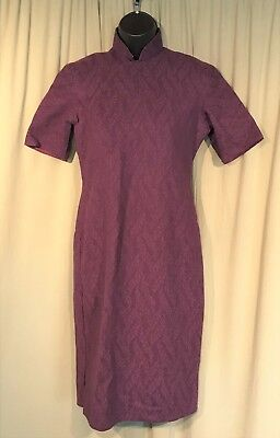 Vintage 60's Oriental Purple Floral Wool Dress Mandarin Collar Cheong-Sam 32
