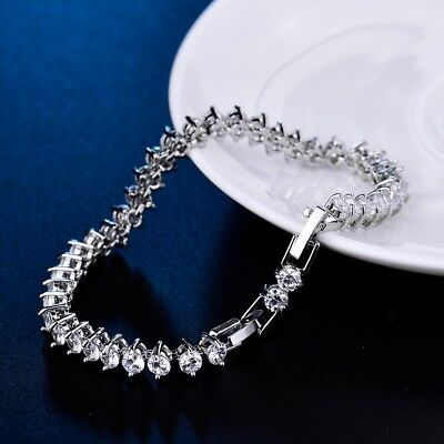 Stunning Lab Diamond Sapphire Crystal Fit Charm Women Tennis Chain Bracelet Gift