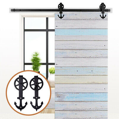 Rustic 2.4m Tracks & Rollers Sliding Barn Door Hardware for Interior/Closet Door