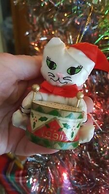 White silk Cat Christmas Ornament - dated 1991