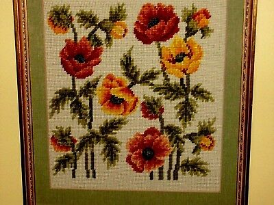 NEEDLEPOINT ART: Red popies Wild Flowers Field - VINTAGE COMPLETED STILL LIFE