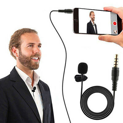 Clip On Lapel Microphone Hands Free Wired Condenser Mini Lavalier Mic 3.5mm